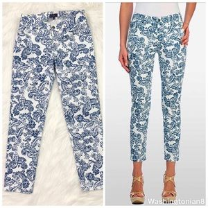 NYDJ Jeans Paisley Print Skinny Ankle Cropped 0